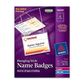 "Avery Insertable Name Badge kit, 3"" x 4"" - White, Price/BX"