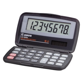"Canon LS555H Compact Pocket Calculator, 8 Character(s) - LCD - Solar, Battery Powered - 0.5"" x 4.81"" x 2.88"" - Black, Price/EA"