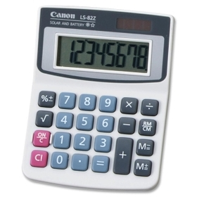 Canon LS82Z Handheld Calculator, 8 Character(s) - LCD - Solar, Battery Powered, Price/EA
