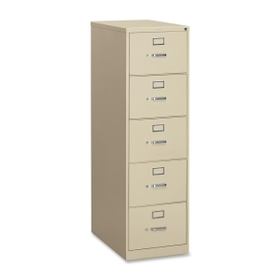 HON 310 Series Vertical File With Lock, 18.25&quot; x 26.5&quot; x 60&quot; - Metal - 5 x File Drawer(s) - Security Lock, Rust Resistant - Putty, Price/EA