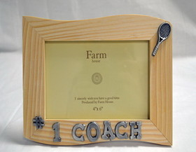 "Wood Picture Frame ""#1 Coach"" (6 x 4"")"