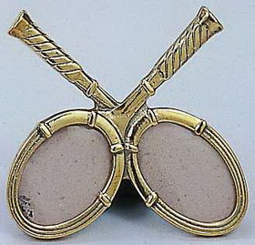 Polished Brass Crossed Racquet Picture Frame 