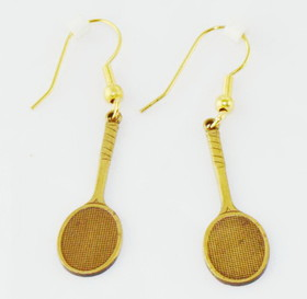Antique Brass Racquet Earrings
