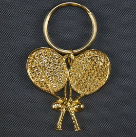 Gold Plate Crossed Racquet Key Ring 