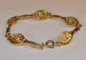 Gold Plate Racquet Link Bracelet 