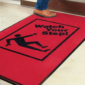 Seton 08570 Safety Slogan Carpet Mat - Watch Your Step, Price/Each