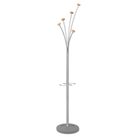 Festival Coat Tree w/Umbrella Holder, Five Knobs, Metal/Wood, Gray/Mahogany, Price/EA