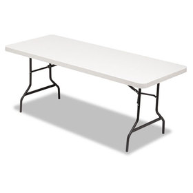 Resin Rectangular Folding Table, Square Edge, 72w x 30d x 29h, Platinum, Price/EA