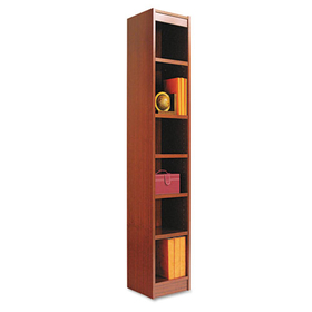 Narrow Profile Bookcase, Wood Veneer, 6-Shelf, 12 x 72, Medium Cherry, Price/EA