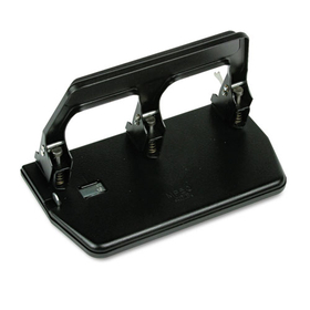 "40-Sheet Heavy-Duty Three-Hole Punch, 9/32"" Holes, Gel Pad Handle, Black, Price/EA"