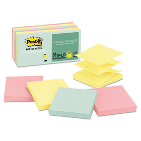 Pop-Up Note Refills, 3 x 3, Five Pastel Colors, 12 100-Sheet Pads/Pack, Price/PK