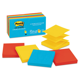 Pop-Up Note Refills, 3 x 3, Five Ultra Colors, 12 100-Sheet Pads/Pack, Price/PK