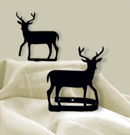 Village Wrought Iron  CUR-TB-3  Deer Tie Backs, Price/Pair