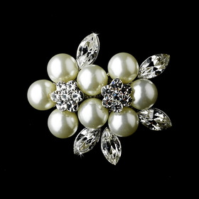 Elegance by Carbonneau Brooch-118 Silver Pearl Brooch 118