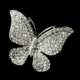 Elegance by Carbonneau Brooch-183-AS-Clear Antique Silver Clear Rhinestone Butterfly Bridal Brooch 183