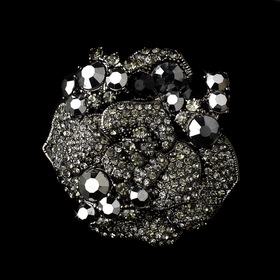 Elegance by Carbonneau Brooch-86-Black Antique Silver w/ Black Crystals Brooch 86