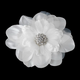 Elegance by Carbonneau Clip-426 Beautiful Crystal Accented Flower Hair Clip 426 White or Ivory