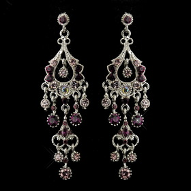 Elegance by Carbonneau E-1028-AS-Amethyst Antique Silver Amethyst Crystal Chandelier Bridal Earrings 1028
