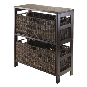 Winsome 92383 Granville 3-pc Storage Shelf w/2 Large Baskets, Dark Espresso Finish