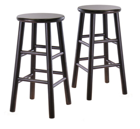 "Winsome 92784 Wood Set of 2, 24"" Bevel seat stool, Assembled"