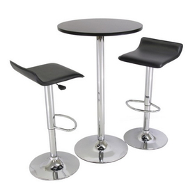 "Winsome 93324 Spectrum 3pc Pub Table Set, 24"" Round Black table with Chrome, 2 Airlift Stool"