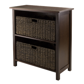 Winsome 94382 Granville 3-pc Storage Shelf w/2 Large Baskets, Antique Walnut Finish