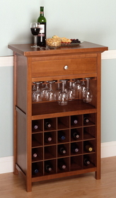 Winsome 94441 Wood Wine Cabinet with Drawer and Glass Rack