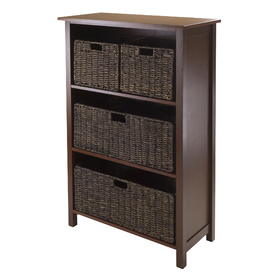 Winsome 94538 Granville 5-pc Storage Shelf w/4 Baskets, Antique Walnut Finish