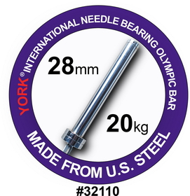York Barbell 32110 7FT International Men's Needle-bearing Olympic Training Bar (28MM)