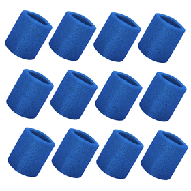 GOGO Thick Solid Color Wrist Sweatband - 12 Pieces