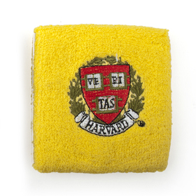 Thick Solid Color Embroidery Wristband - Harvard Logo (price for SINGLE PIECE)